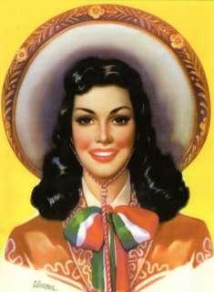 VINTAGE MEXICAN CALENDAR ART SOMBRERO GIRL POSTCARD