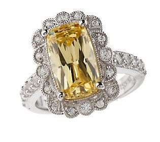 Tacori IV Diamonique Epiphany Cushion Cut Canary Ring — QVC