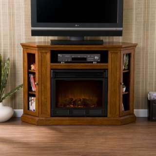 Home Stuart 48 TV Stand with Electric Fireplace in Brown Mahogany