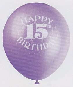 HAPPY 15th BIRTHDAY BALLOONS Party Decoration 6 Pack