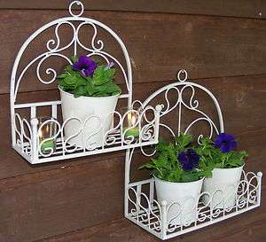 Set of 2 Wrought Iron Wall Baskets / planters / pot plant holders