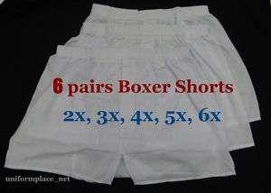 6 prs Mens BOXER SHORTS UNDERWEAR 2X 3X 4X 5X 6XL White