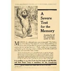 1909 Ad A & F Pears Co. Otto of Rose Soap Cartoon Bear