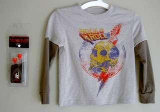 HYBRID SOUND BUDZ Boys Gray T Shirt Rock N Roll Yellow Skull Red Ear