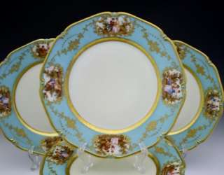 VERY FINE C1918 GERMAN THOMAS PORCELAIN SET OF 8 DINNER PLATES FISHERN