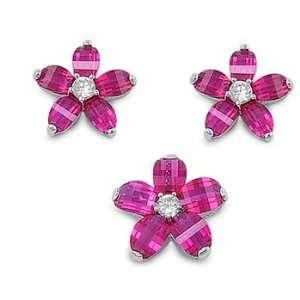 Sterling Silver & Ruby CZ Prairie Rose Flower Earring