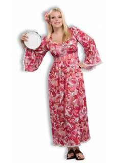 Womens Plus Size Hippie Flower Child Costume  Cheap 70s Halloween