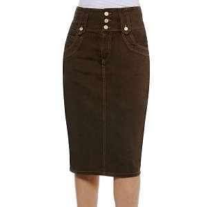 Miss Tina High Waist Denim Pencil Skirt