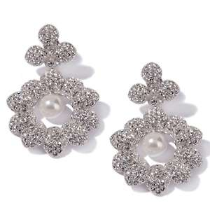 Flowers Simulated Pearl and Crystal Drop Earrings