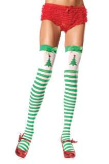 Striped Thigh High Stockings with Printed Christmas Tree, Glitter Star