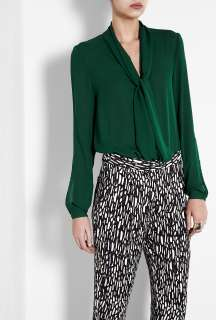 By Malene Birger  Forest Green Hania Tie Neck Blouse by By Malene