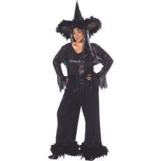 Glamour Witch Plus Adult Costume   Includes Black sequin top with