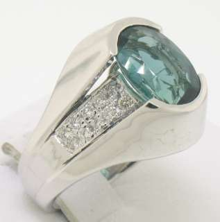 14k White Gold Blue Green Tourmaline Diamond Lady Ring
