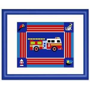 Olive Kids Heroes Ladder Truck Framed Print (dark blue)