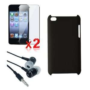 Black Rubber Coated Case + 2 packs of Screen Protector