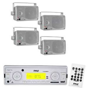 Pyle Marine Radio Receiver and Speaker Package   PLMR89WW AM/FM
