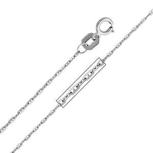 14K White Gold 1mm Anchor Link 1+1 Mariner Chain Necklace