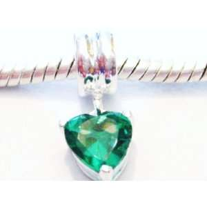 Authentic 925 sterling silver green heart dangle charm fits pandora
