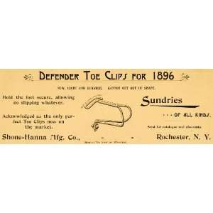 1896 Ad Bicycle Pedal Defender Toe Clips Sundries Shone Hanna Bike