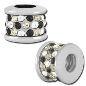 11mm Clear, Black Diamond and Jet Confetti Rhinestone Bead