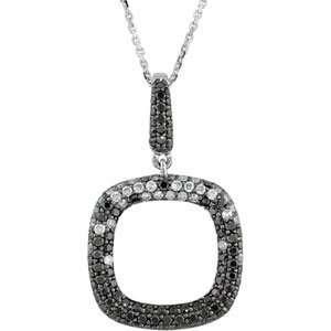Genuine IceCarats Designer Jewelry Gift 14K White Gold Black And White