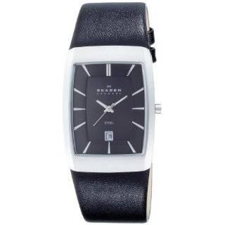 Skagen Mens 691LSLS Black Leather Band Stainless Steel Watch Watches
