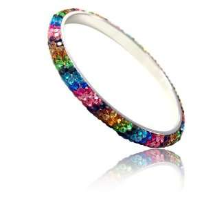 Multi Colored Rhinestone Clay Based Bangle Bracelet