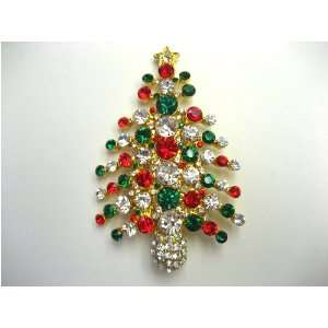 Crystal Rhinestone Golden Christmas Tree Pin Brooch