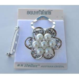 Swarovski Crystal Rhinestone with Imitation Pearl Scarf Ring & Brooch