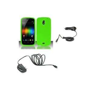 Verizon) Premium Combo Pack   Neon Green Silicone Soft Skin Case Cover