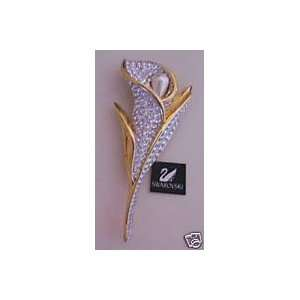 Signed Swarovski Gold Tone /Crystal/pearl Calla Lily Brooch Pin with
