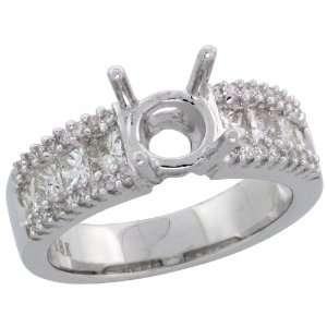 18k White Gold Semi Mount Diamond Ring, w/ 1.01 Carats Brilliant Cut