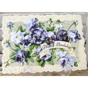 Carol Wilson Happy Birthday Card Purple Pansies