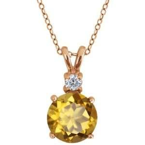 Champagne Quartz and White Diamond 14k Rose Gold Pendant Jewelry