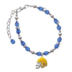 Small Yellow Football Helmet Blue Czech Glass Beaded Charm Bracelet