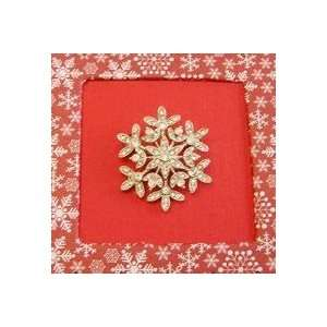 Bejeweled Christmas Holiday Snowflake Crystal Brooch Pin Jewelry