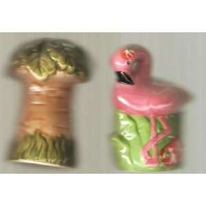 Flamingo and Palm Tree Salt and Pepper Shaker Set: Kitchen & Dining