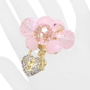 Crystal Cluster Pave Heart Key Stretch Ring Gold Pink Jewelry