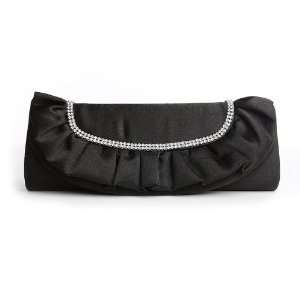 Jet Black Satin Clutch Purse with Ruffle & Rhinestone