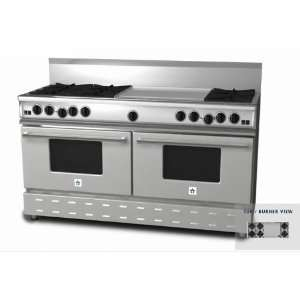 Natural Gas Range With 24 Inch Griddle   Stainless Steel: Appliances