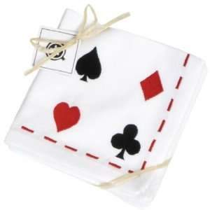 Napkins, Set of 6, Playing Card Emblems Embroidered on White Cotton