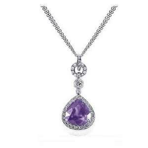 33 Ct Purple Amethyst & Diamond Pear Cut 14K Gold Pendant Jewelry