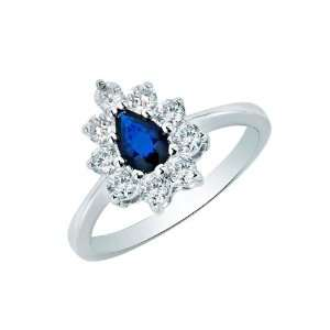 com 14k White Gold Promise Ring with Pear Cut Sapphire and Round Cut