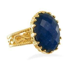Oval Genuine Sapphire Ring 14K Yellow Gold Plate on Sterling Silver