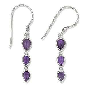 Sterling Silver 3 stone Amethyst Dangle Earrings by Sajen Jewelry