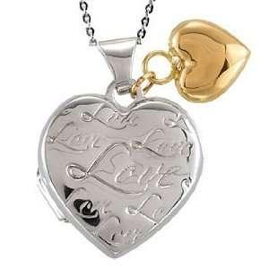 Sterling Silver & 14K Yellow Gold Dangle Heart Locket  FREE Velvet