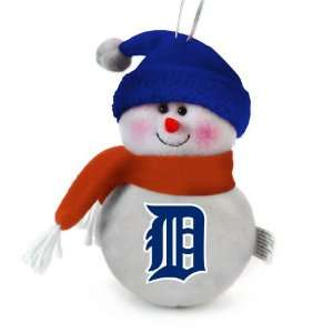Pack of 3 MLB Detroit Tigers Plush Snowman Christmas Ornaments 6