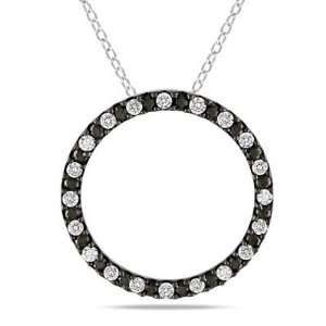Paris Jewelry 2 Carat Genuine Black and White Diamond Circle Necklace
