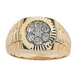 Gold with High Polished Finish .50cttw Diamond Cluster Ring, Size, 9