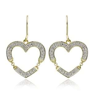 Gold Plated Sterling Silver Diamond Accent Open Heart Drop Earrings